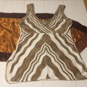 Cream knit tank with gold lured chevron pattern